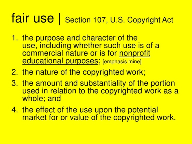 Nature Of Copyrighted Work Fair Use